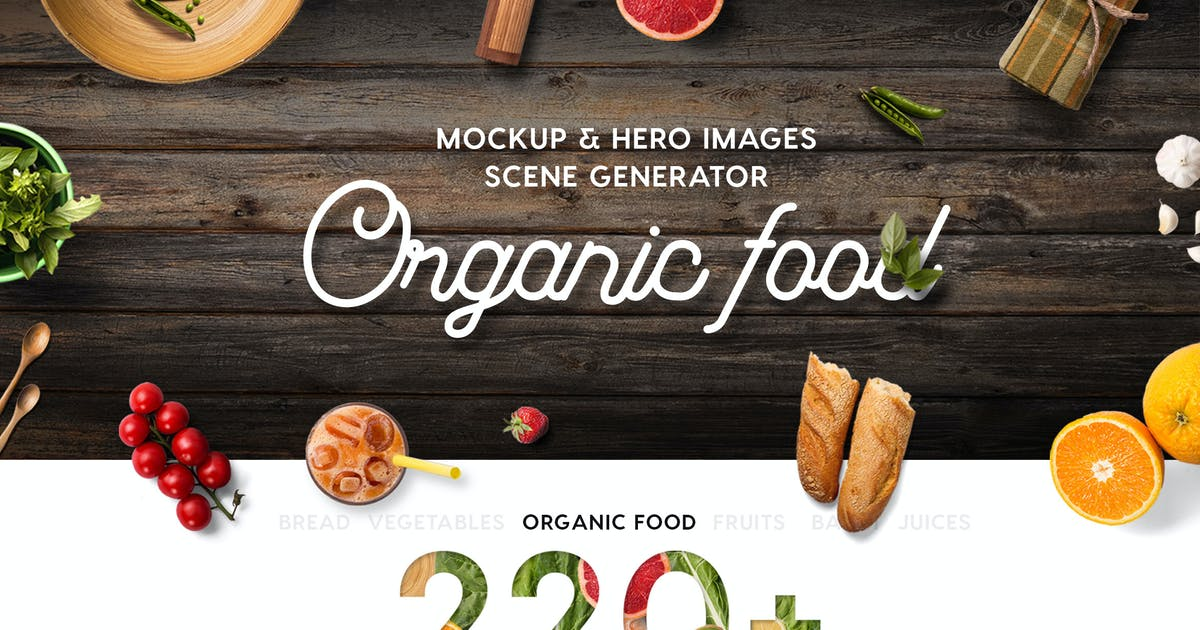 Organic Food Mockup & Hero Images Scene Generator by CreativeForm