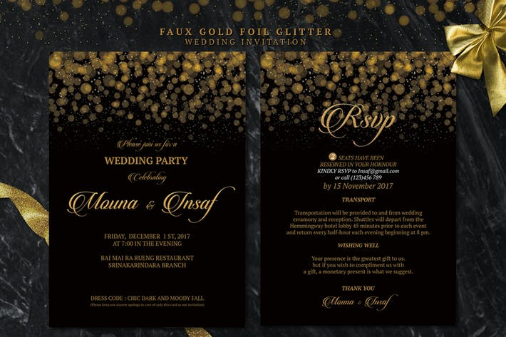 Thumbnail for Faux Gold Foil Glitter Wedding Invitation