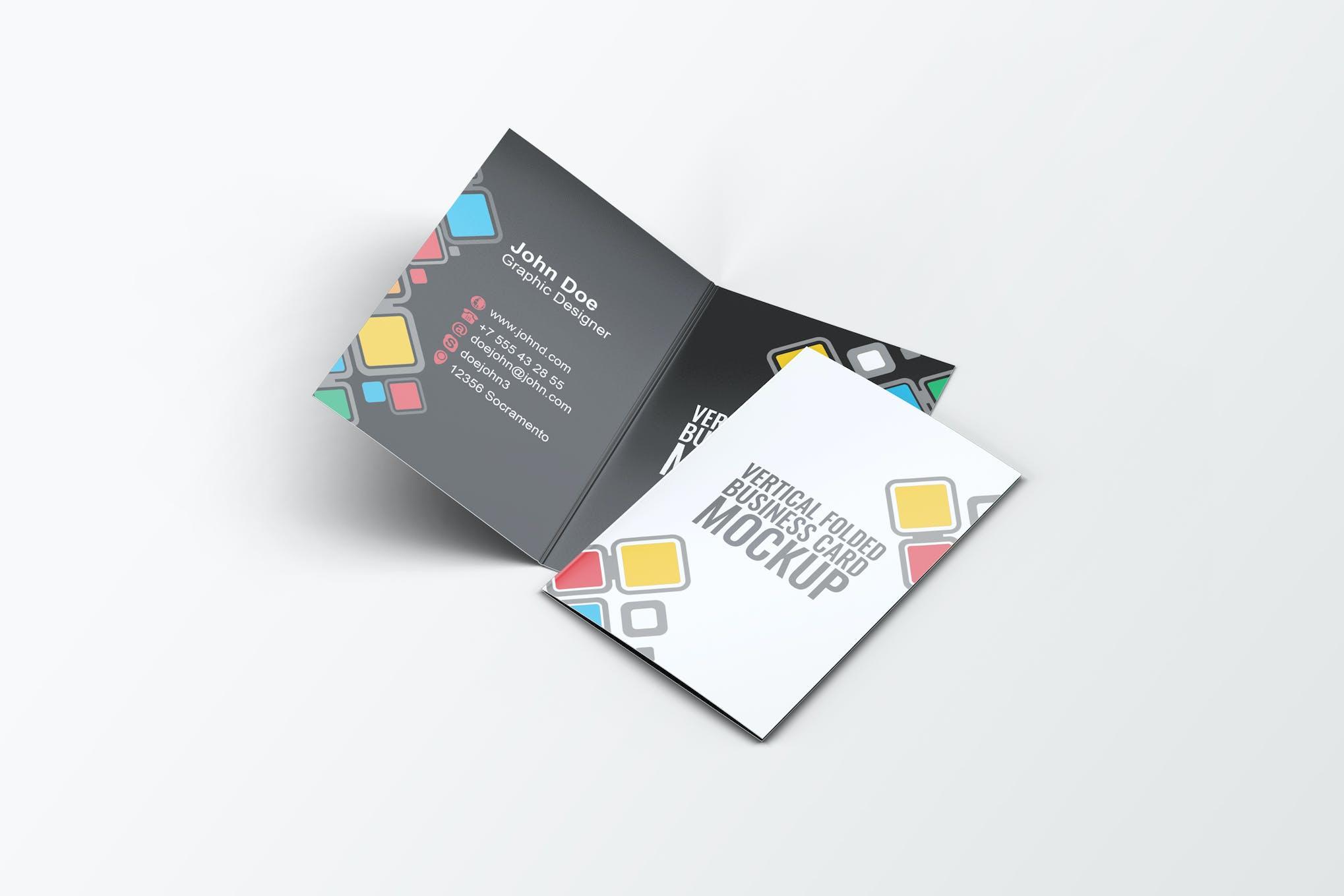 Vertical Folded Business Card Mock-Up by L5Design on Envato Elements