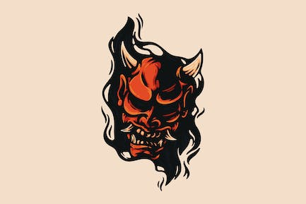 Oni Mask And Black Fire