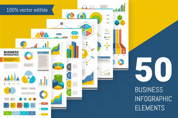 Thumbnail for Set of 50 business infographic elements