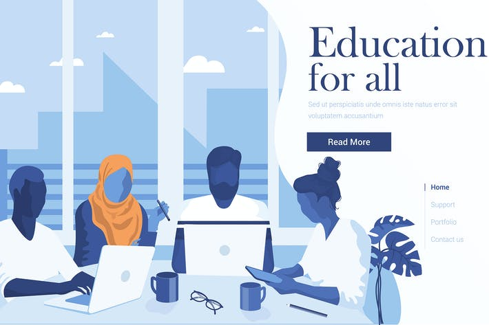 Cover Image For Flat Modern design Illustration of Education
