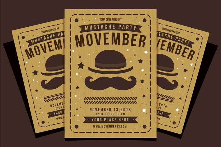 Thumbnail for Movember Mustache Party Flyer Template