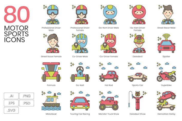 80 Motorsport-Line-Icons