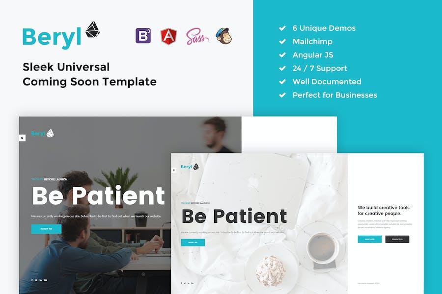 Beryl – Responsive HTML5 Coming Soon Template