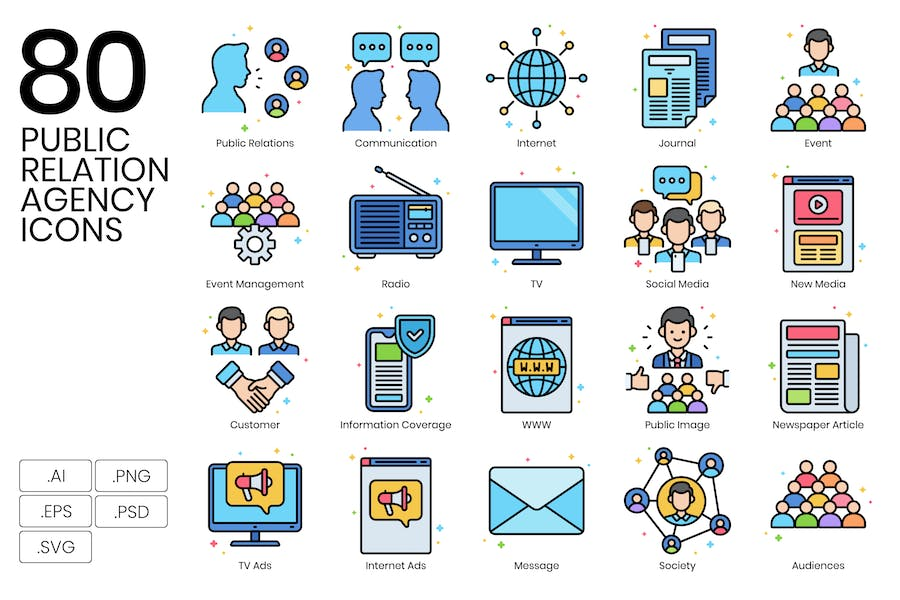 80 Public Relations Agency Icons - Vivid Series