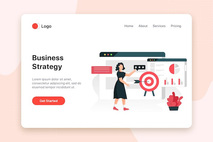 Thumbnail for Business strategy flat concept for Landing page