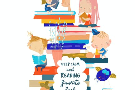 Niños lindos sentados en la pila de libro. Vector