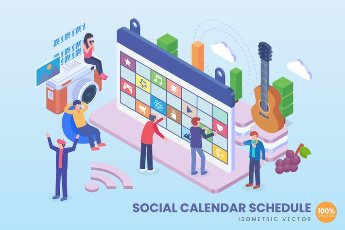 Thumbnail for Isometric Social Calendar Schedule Vector Concept
