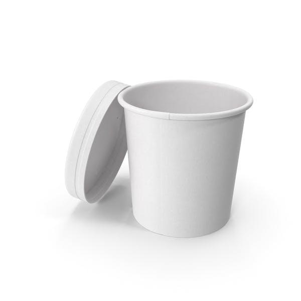 Белая бумага Food Cup с вентилируемой крышкой одноразовое ведро для мороженого 12 унций 300 мл Open