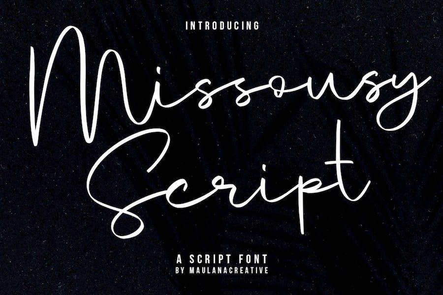 Fuente de secuencia de comandos escrita a mano Missousy