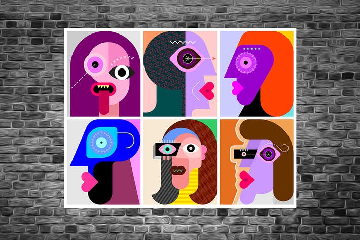 6 Faces / 6 Persons vector design