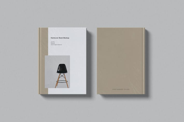 Front and back of hardcover book mockup