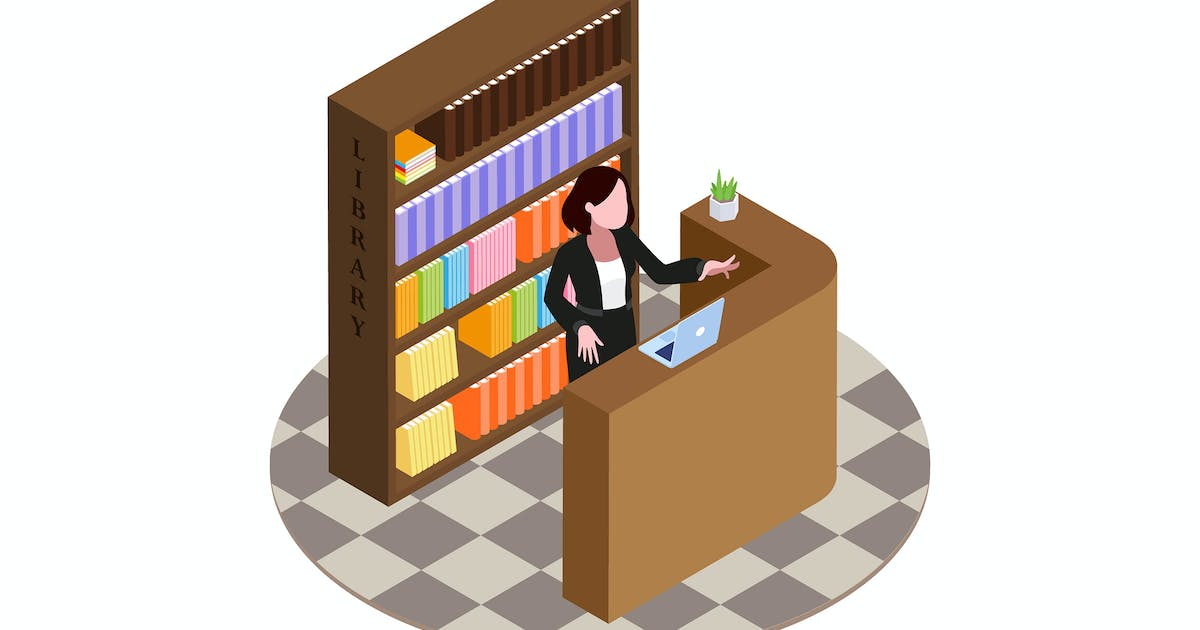 Download Librarian Concept Isometric Illustration by angelbi88