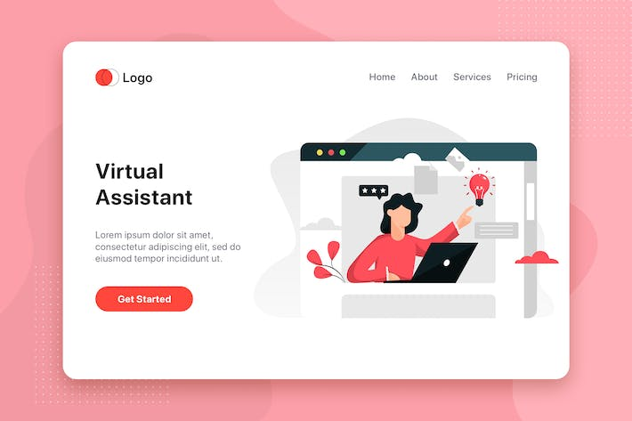 Thumbnail for Online assistant Illustration - Website Header