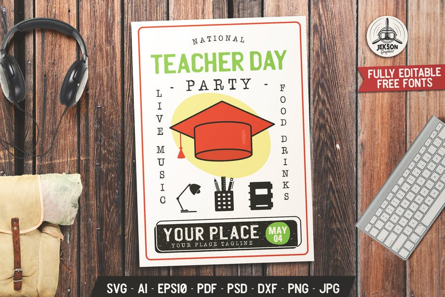 Teacher's Day Party Flyer Template