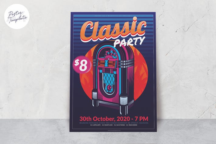 Thumbnail for Retro Music Party Poster Template