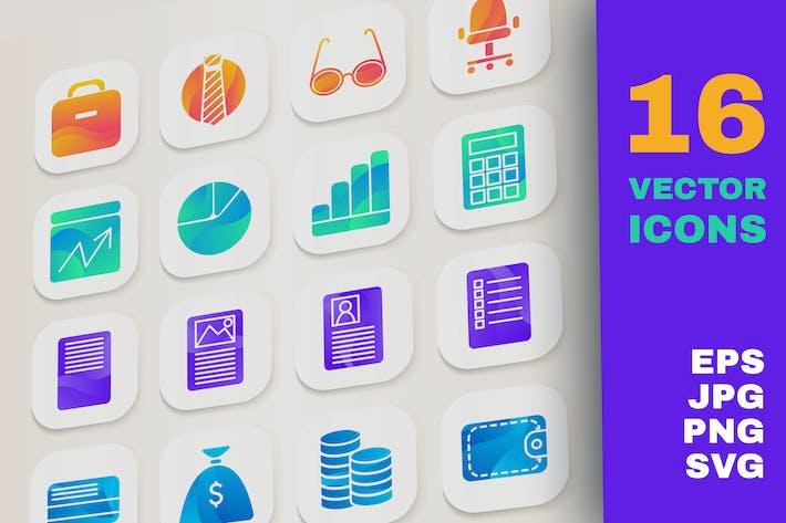 Gradient Business Icons Set