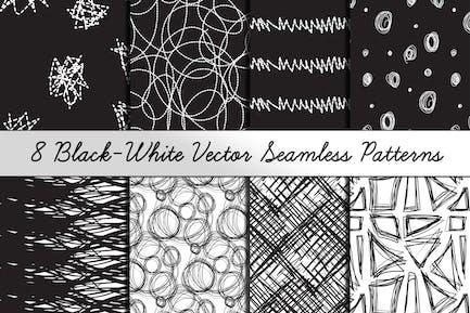 8 Black-White Hand Drawn Patterns