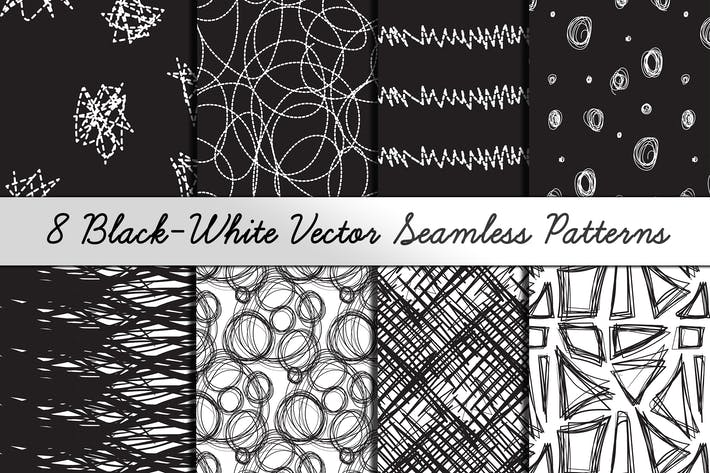Thumbnail for 8 Black-White Hand Drawn Patterns
