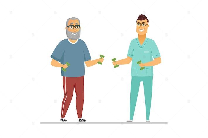 Rehabilitationsübungen - flache Illustration