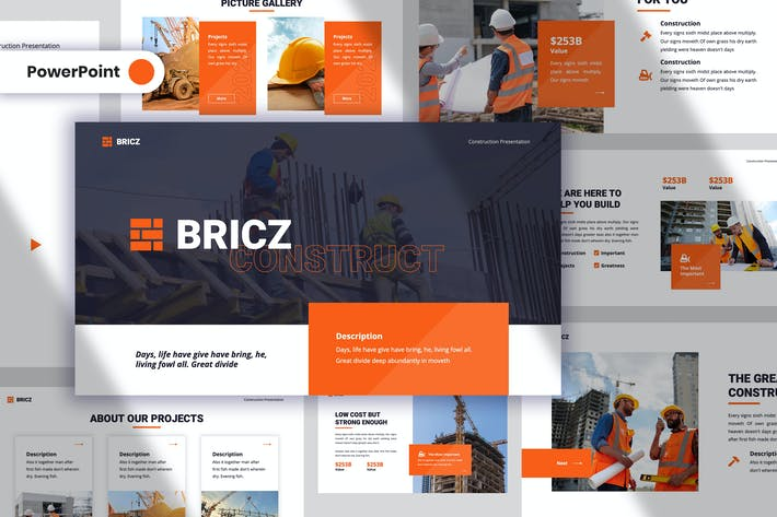 Thumbnail for Bricz - Construction PowerPoint Template