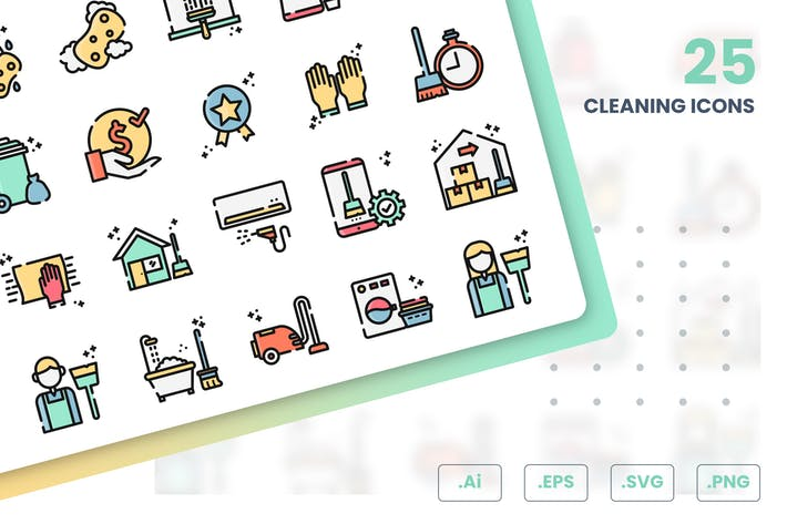 Thumbnail for Cleaning Icons Set