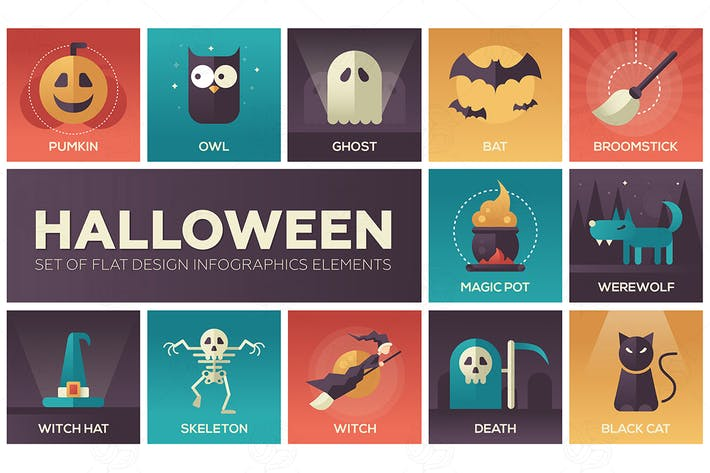Cover Image For Halloween - vector modern flat design icons set