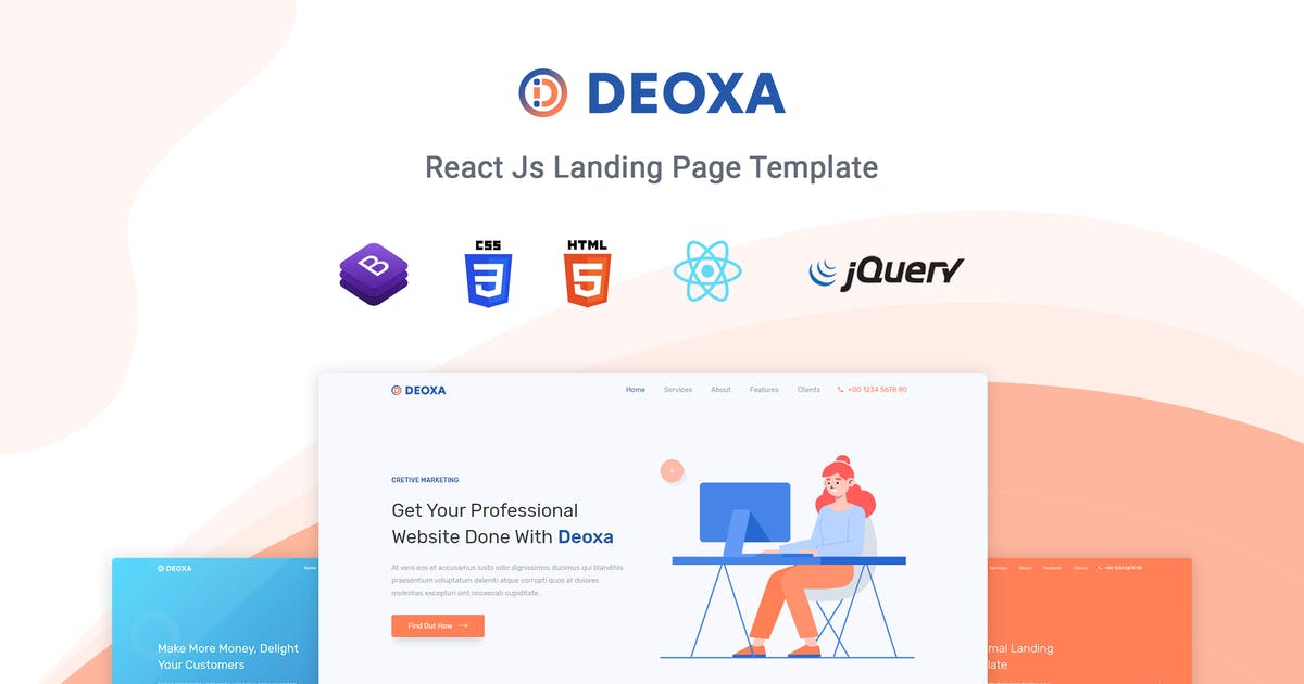 Download Deoxa - React Landing Page Template by themesdesign