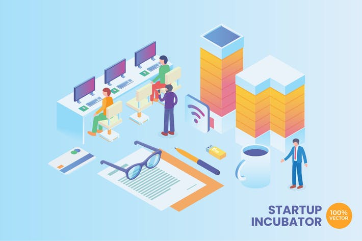 Thumbnail for Isometric Startup Incubator Vector Concept