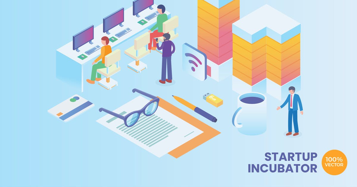 Download Isometric Startup Incubator Vector Concept by naulicrea