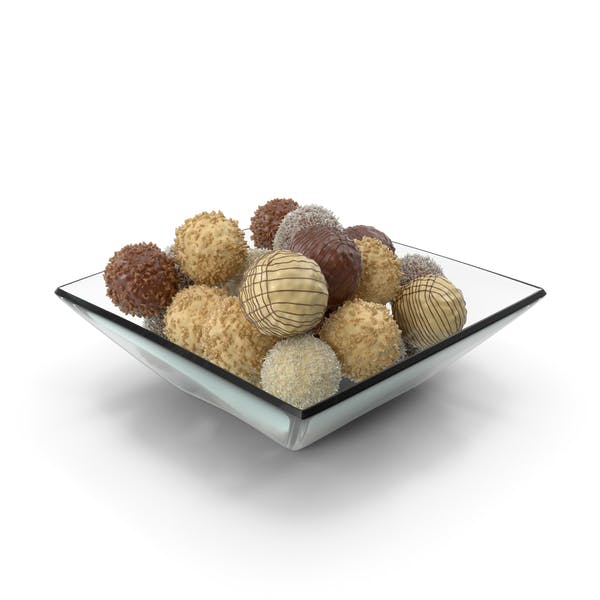 Square Bowl with Mixed Chocolate Balls