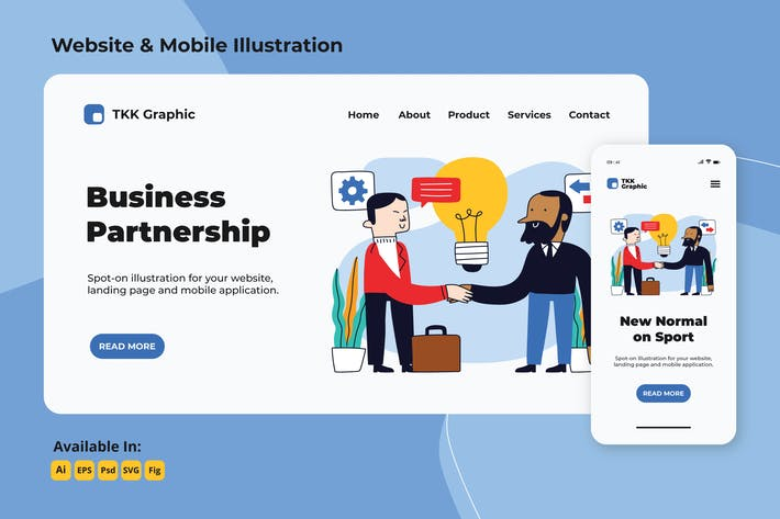 Thumbnail for Business Partnership landing page & mobile designs