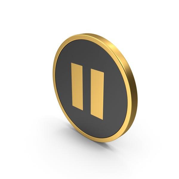 Pause Button Golden Icon