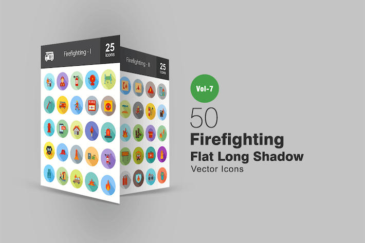 Thumbnail for 50 Firefighting Flat Shadowed Icons