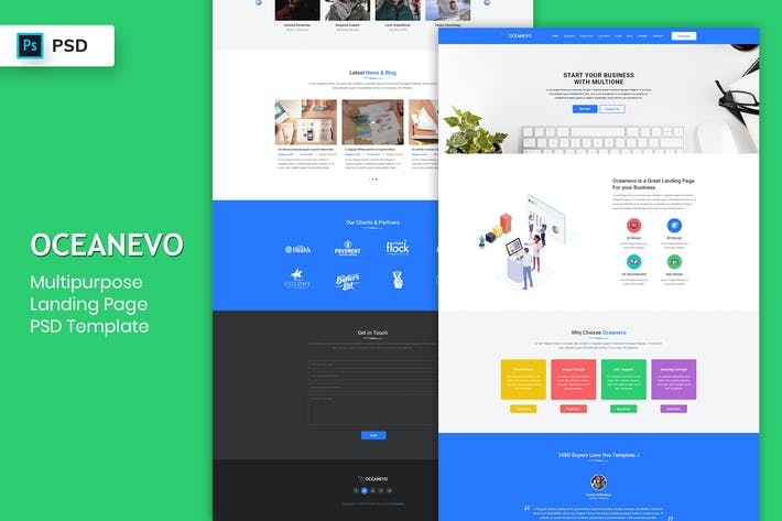 Thumbnail for Multipurpose - Landing Page PSD Template-02