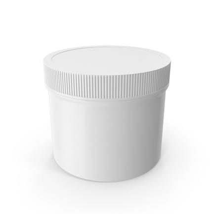 Tarro de plástico boca ancha recta cara corta 32oz cerrado blanco