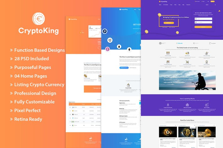 Thumbnail for CryptoKing - Crypto Currency PSD Template
