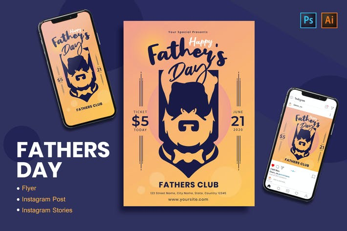 Fathers Day Flyer, Instagram Post & Stories
