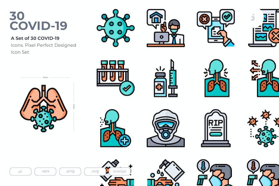 30 COVID-19 Icons