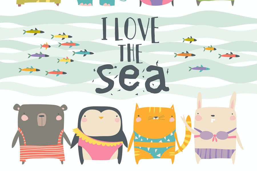 Vector set of cute animals wearing swimsuit on whi
