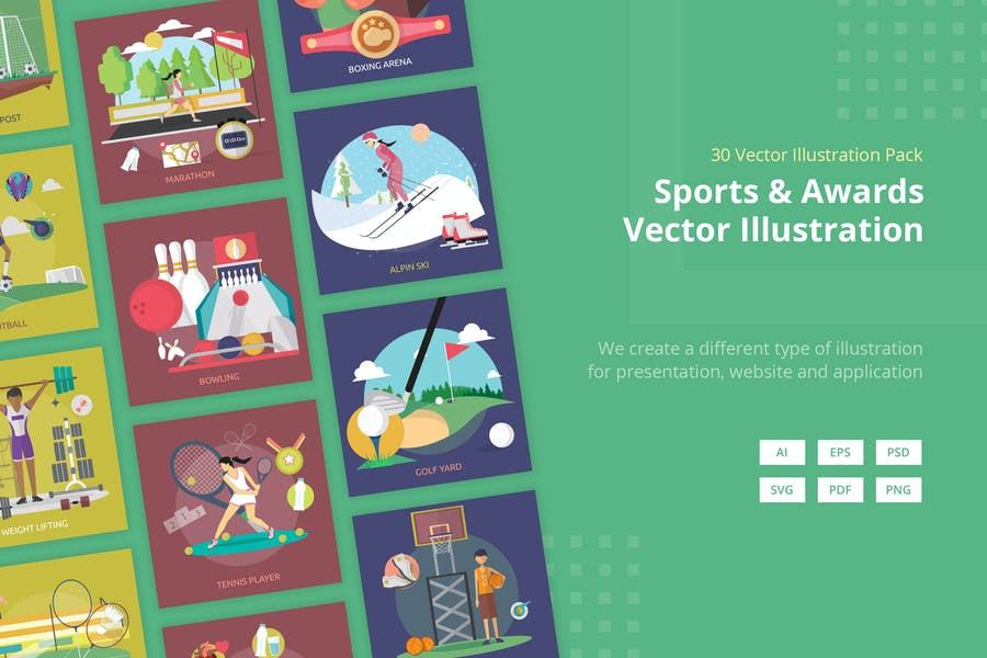 Sports and Awards Vector Illustration