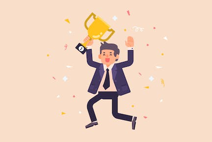 Successful Businessman with Trophy Illustration