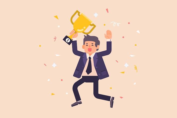 Успешный бизнесмен с трофейной иллюстрацией
