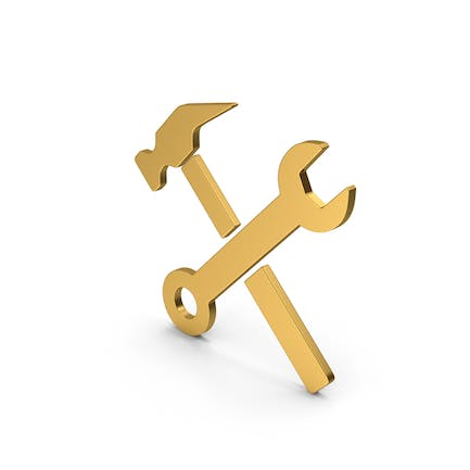 Symbol Wrench And Hammer Gold