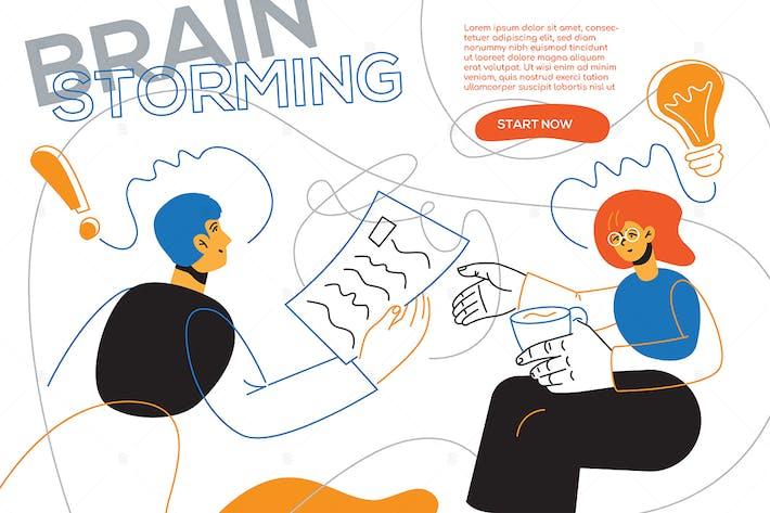Thumbnail for Brainstorming - flaches Design Stil WebBanner