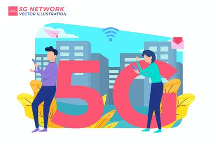 5G Network Flat Illustration