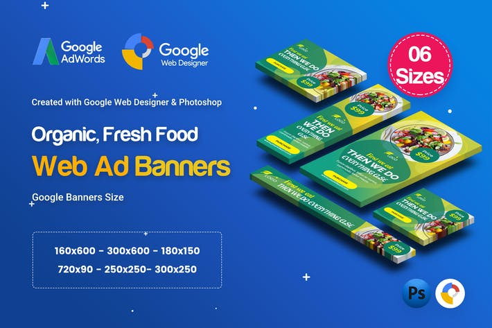 Thumbnail for C55 - Organic, Fresh Food Banners GWD & PSD