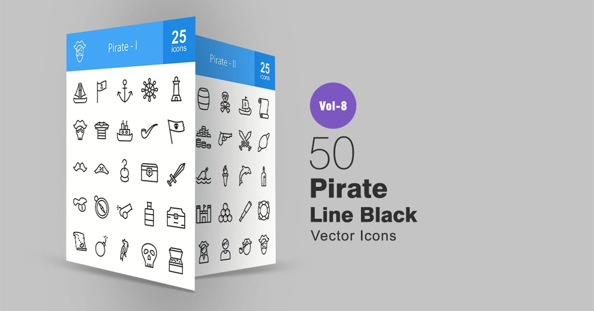 Download 50 Pirate Line Icons by IconBunny