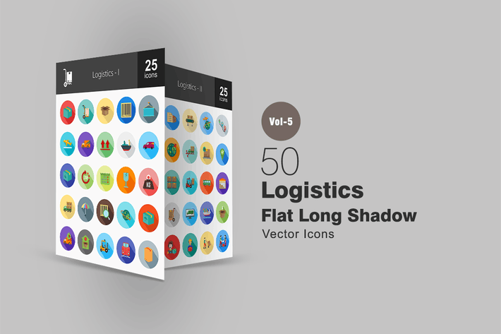 50 Logistics Flat Shadowed Icons